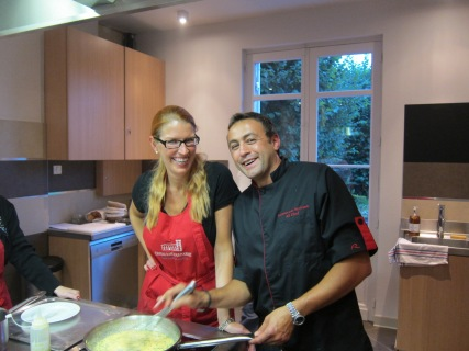 Making scrambled eggs with Chef Bertrand Auduberteau