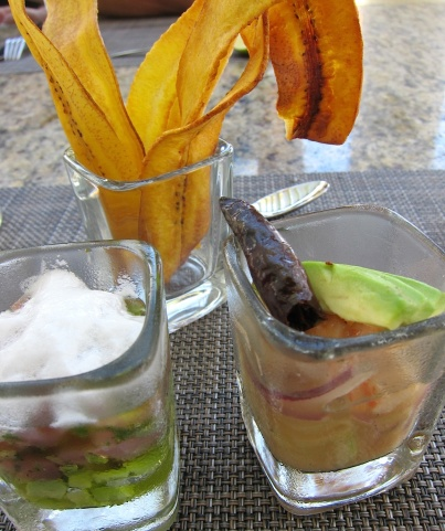 Fresh ceviche served poolside at the JW Marritott, Cancun