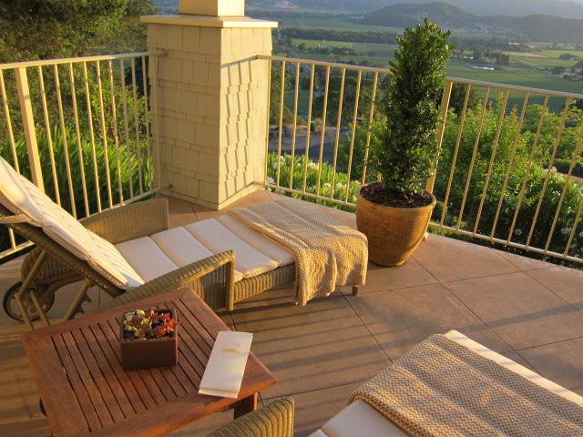 Balcony overlooking Stag's Leap and Yountville vineyards in the Robert Frost suite at Poetry Inn