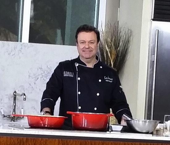 Chef Abraham Salum on the set of The Broadcast