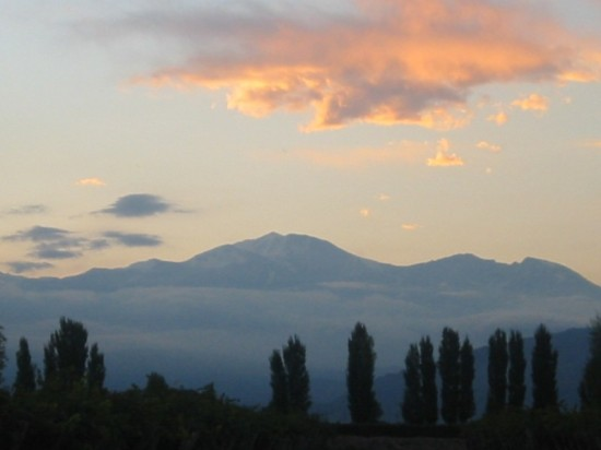 Sunset over the Andes from the terrace at Cavas Wine Lodge